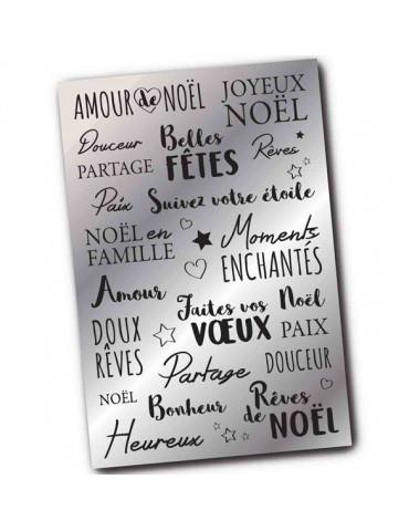 Stickers transfert Noël - Messages voeux - Argent métallisé