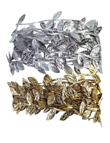Ruban satin feuilles - Or et Argent - 1cm x 2m