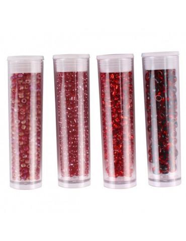Perles de rocaille - Bordeaux - 4 tubes assortis x8g