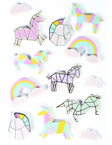 Stickers 3D - Licorne 50mm - x13