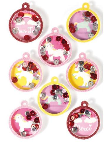 Stickers 3D Boule Licorne 45mm - x8