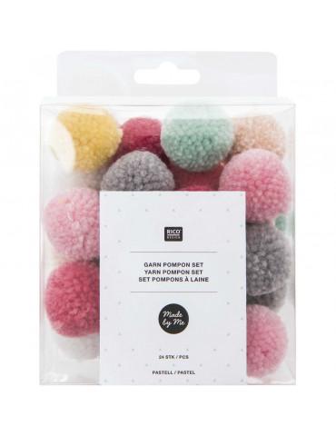 Pompons laine - Mix pastel x24 - 3cm