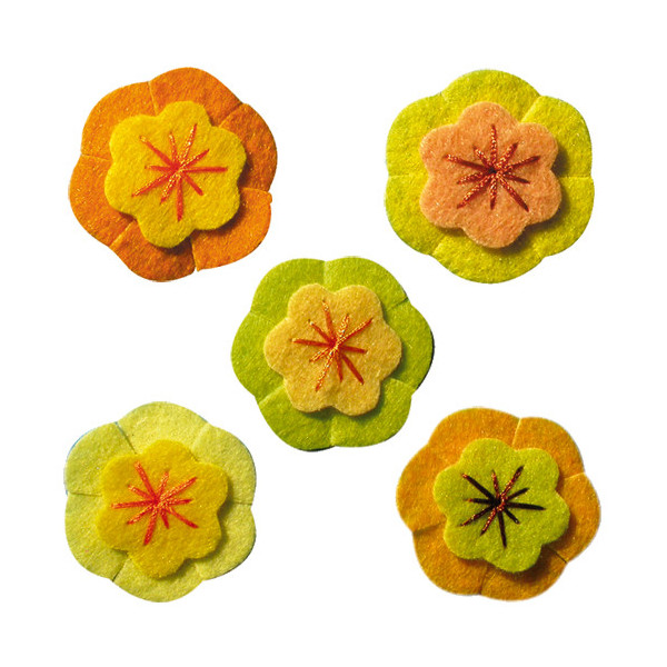 Fleurs cerisier jaune feutrine adh. x5