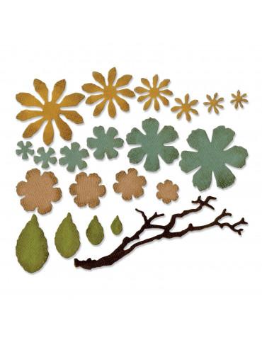 Dies Thinlits Tattered Florals (Petites fleurs) - 21 pièces - Sizzix