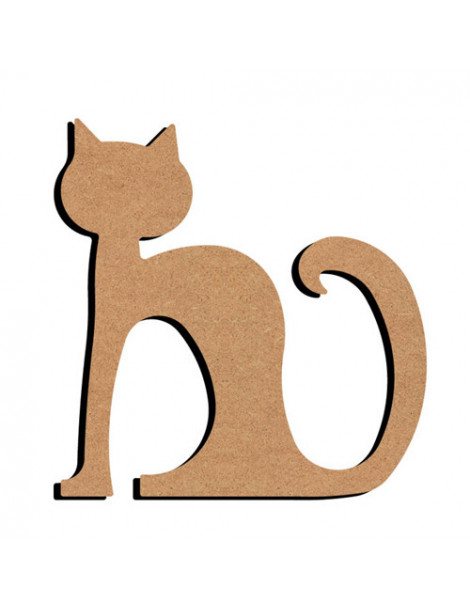 Chat assis en bois - 26cm
