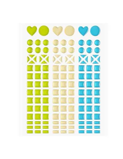 Mosaique stickers vert pomme, champagne, turquoise