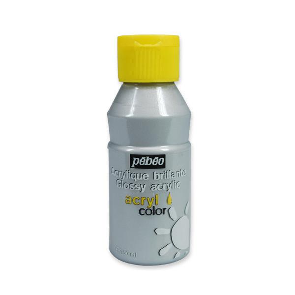 Peinture acrylique Pébéo, ACRYLCOLOR Argent 150ml