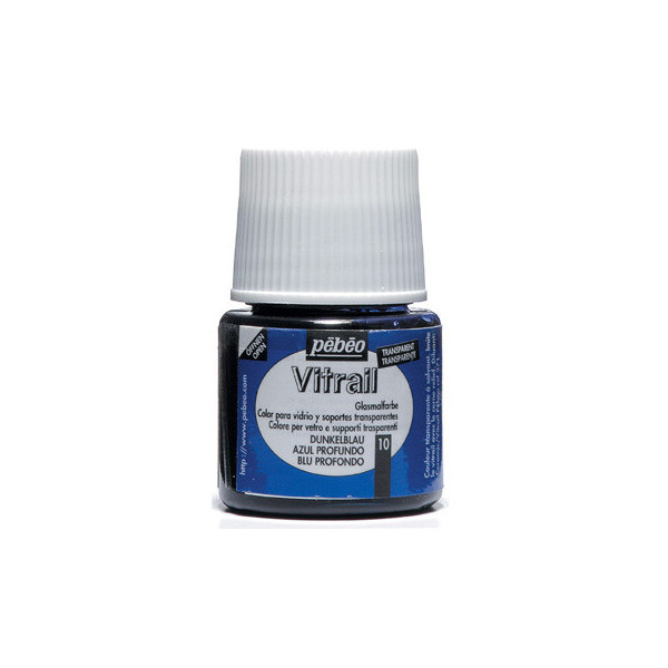 Peinture VERRE avec solvant 45ml Bleu Profond