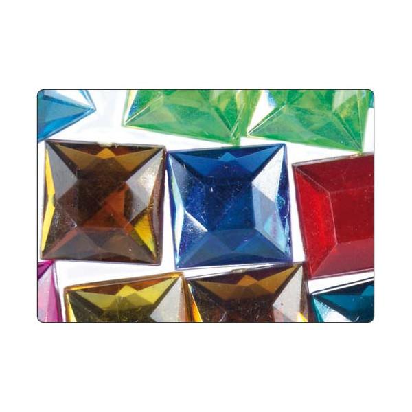 Strass facettes carrés multicolore 30mm