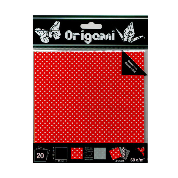 papier origami pois 15x15cm 20 feuilles double face. Black Bedroom Furniture Sets. Home Design Ideas