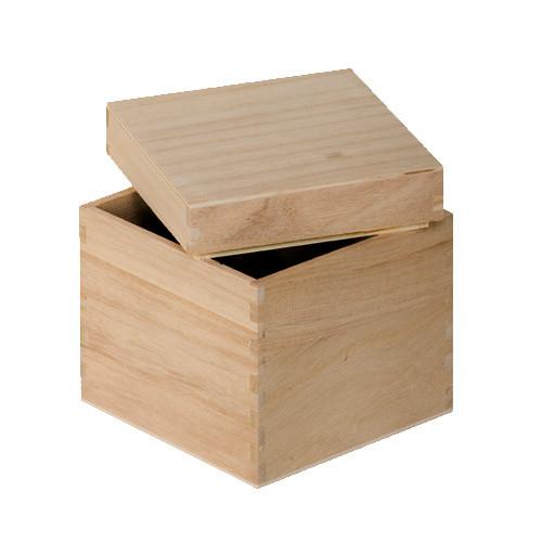 boite cube en bois brut support bois dcorer boite en bois brut forme carre dimension 12x12x12 cm marque artemio objets dcorer 4307 299 tout - Objets Bois A Decorer