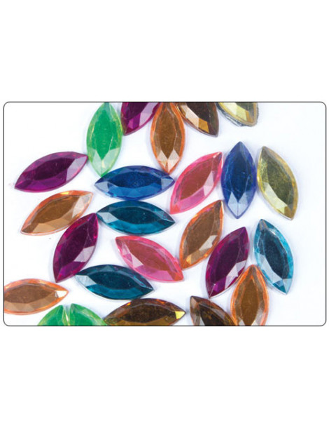 Strass facettes feuilles multicolores 20mm