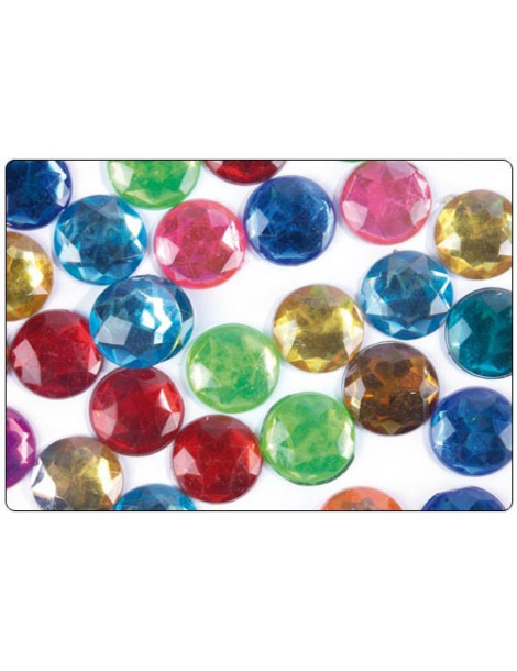 Strass facettes cercles multicolores 15mm