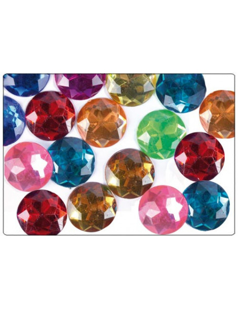 Strass facettes cercles multicolores 20mm