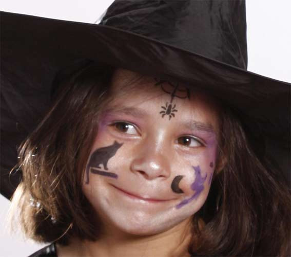 maquillage halloween sorciere petite fille simple