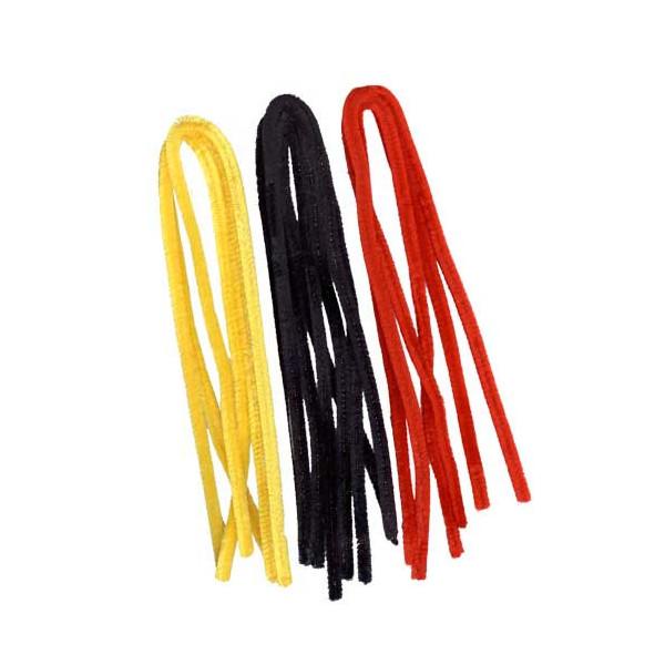 Fils chenille noir-rouge-jaune 8mm x10