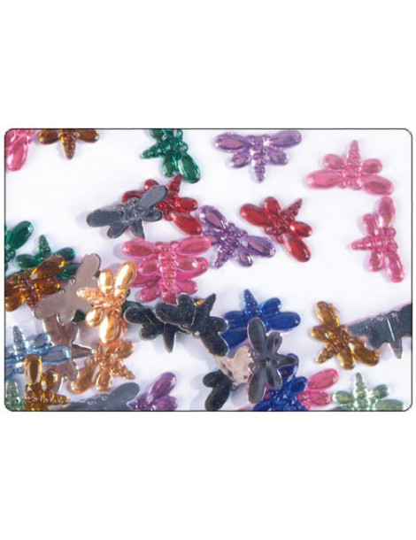 Strass papillons multicolores 6mm