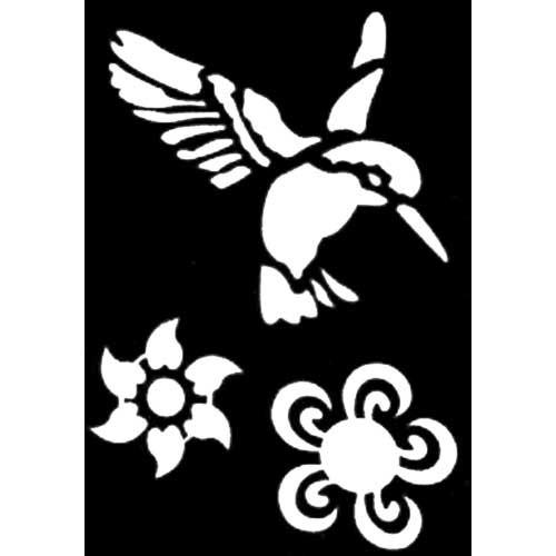 pochoir adh sif pm colibris fleur tout creer. Black Bedroom Furniture Sets. Home Design Ideas
