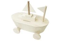 Tirelire bateau en bois