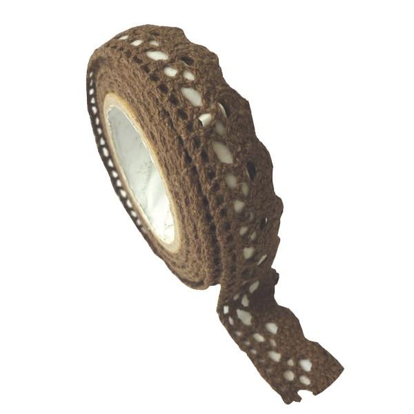 Ruban tissu adh sif dentelle chocolat 2 5m for Rubans adhesifs decoratifs