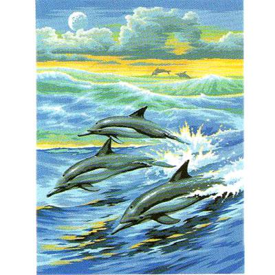 Peinture numero d butant dauphins tout creer - Tableau acrylique facile ...