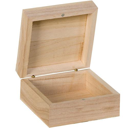 Boite carr e bois 10x10 cm tout creer for Boire de rangement avec couvercle versailles