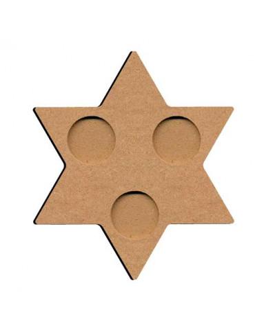 Bougeoir MDF étoile - 3 trous