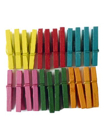 Pinces à linge couleur 25mm...