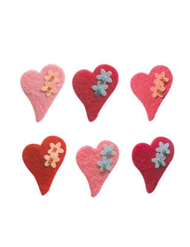 Coeurs feutrine adhésive x6