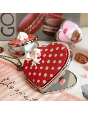 Miroir de poche métal coeur...