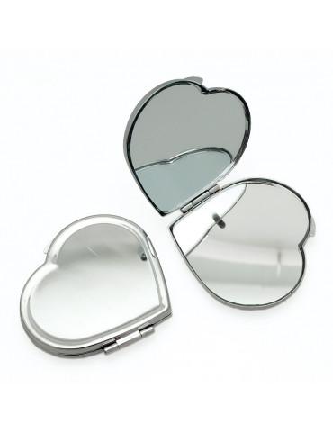 Miroir de poche métal coeur à décorer