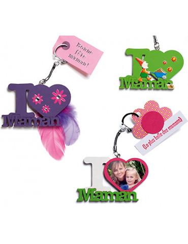 Porte-clés bois - I Love Maman
