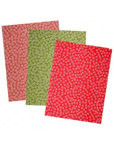Tissu adhésif Fleurs - 3 coupons assortis 15x20cm