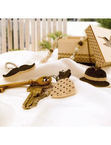 Porte-clés bois - Vintage x6