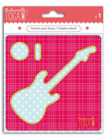 Pochoir tissu - Guitare -...