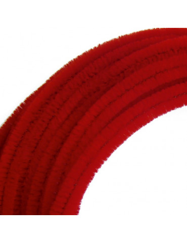 Fil chenille Rouge 8mm -...