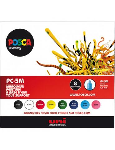 Posca - Boite 8 marqueus PC5M - Pointe moyenne 2,5mm