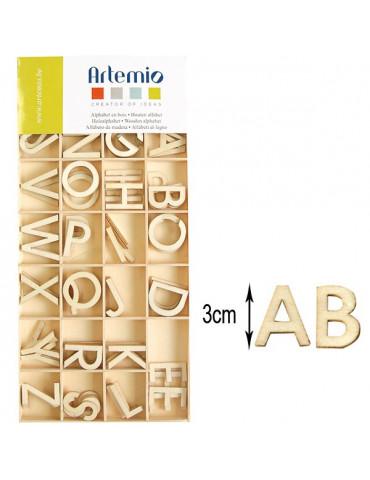 Lettres en bois - Majuscules 3cm - 130 pièces
