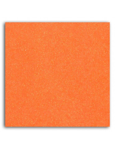 Tissu thermocollant - Glitter orange fluo - Mlle Toga