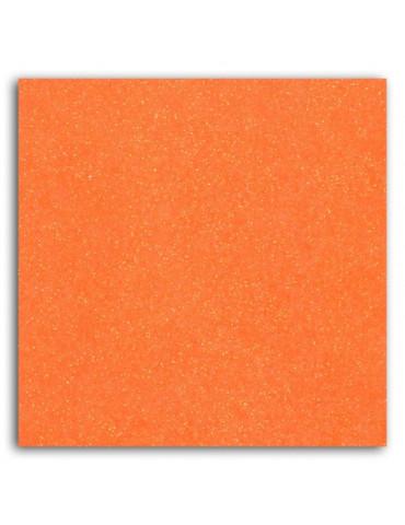 Tissu thermocollant - Glitter orange fluo - Mlle Toga