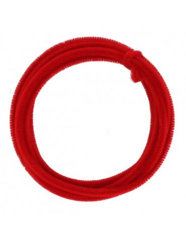 Fil chenille Rouge 8mm - rouleau 5m
