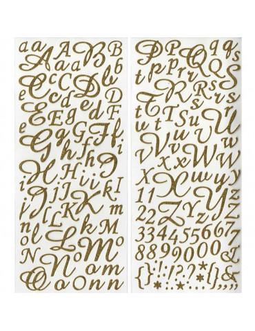 Alphabet autocollant paillettes Or - 177 pcs