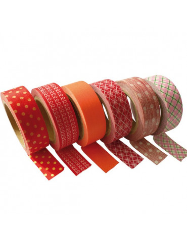 Masking tape - Assortiment de rouge x6