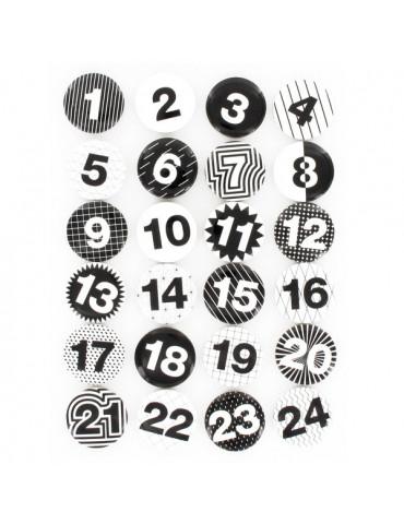 Chiffres calendrier avent - Boutons Noir et blanc