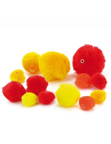 Pompons perles orange x48