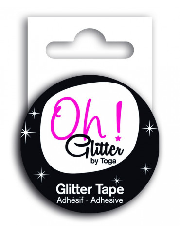 Masking tape Glitter Noir -...