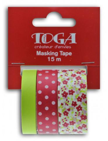 Masking tape - Fleurs Pois Uni Framboise et anis - Toga