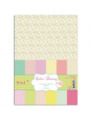 TOGA - Color Factory - 48 papiers fleurs et pois