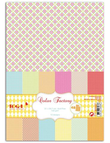 TOGA - Color Factory - 48 papiers imprimés Fleurs géométriques