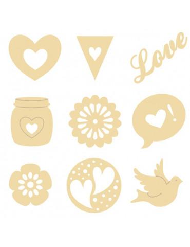 Mini silhouettes bois - Love- Artemio
